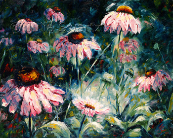 An impressionistic oil painting of pink Cone flowers by Julia Swartz.