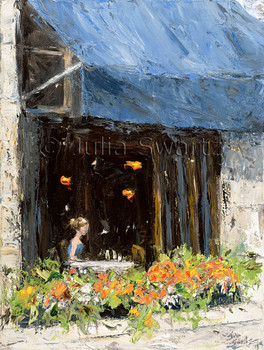 An impressionist oil painting of a the window of the Conti Caffe in Old Town Quebec Canada by Julia Swartz.