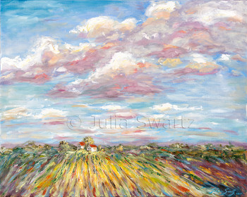 An impressionist oil painting of a corn field with blue sky and fluffy clouds