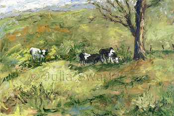 An impressionist oil painting of cows grazing in a pasture by Julia Swartz Lancaster PA