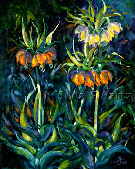 An oil painting of Crown Imperial flowers by Julia Swartz