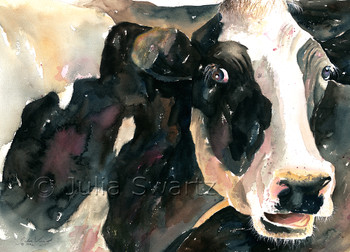 A watercolor painting of a Black & White Holstein cow by Julia Swartz