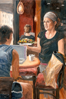 An oil painting of lunch time at a busy Prince Street cafe in Lancaster PA