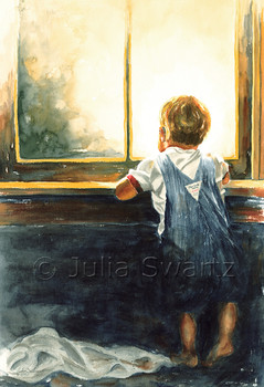 A watercolor painting of a small child in Oshkosh jeans looking out a window by Julia Swartz