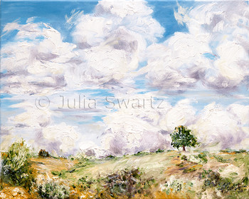 A landscape oil paintings of puffy white Cumulonimbus clouds above the countryside.