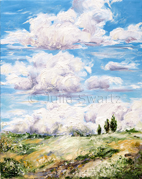 Another landscape oil paintings of puffy white Cumulonimbus clouds above the countryside in Lancaster county.