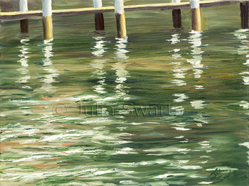 An impressionist oil painting of a boat dock and its reflections in the water by Julia Swartz Lancaster PA