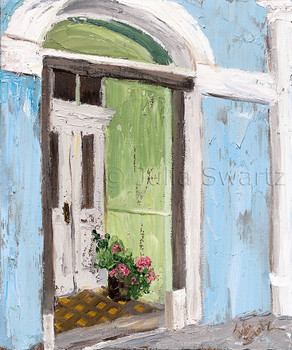 A green door of a home in Moville Ireland, one of many different colored doors in pastel painted homes painted in oil on canvas by Julia Swartz