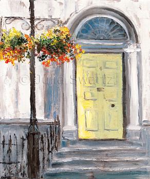 A yellow door of a home in Moville Ireland, one of many different colored doors in pastel painted homes painted in oil on canvas by Julia Swartz