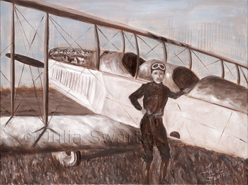 Oil painting of an old biplane by Julia Swartz, Lancaster PA.