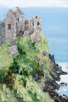 A landscape oil painting of Dunluce Castle in Ireland by Julia Swartz,