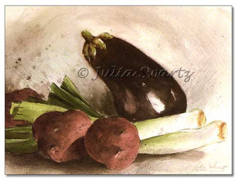 Original Watercolor paintings of Eggplant, Red potato & onion by Julia Swartz