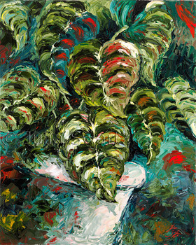 An oil painting of an Elephant ear plant in a flower pot by artist Julia Swartz.