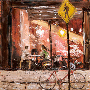 An oil painting through the window of the Prince St Cafe with a bicycle in the foreground.