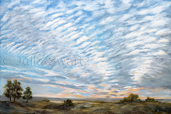 An oil  painting of ripples of clouds at sunset by Julia Swartz