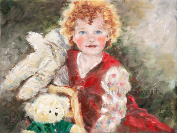 A portrait of a red headed Irish girl with her stuffed animals painted with oil on canvas by Julia Swartz.
