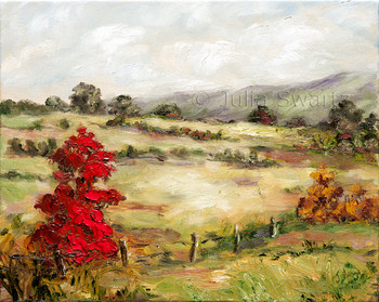 This oil painting contains many of Julia's favorite elements: trees, meadows, reflections and intense color.