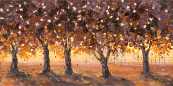 Original oil painting of Fall landscape and trees at sunset by Julia Swartz, gallery, Lancaster PA.