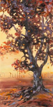 An Autumn Landscape Oil Painting of one tree and fields at sunset by Julia Swartz Lancaster PA