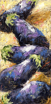 A still life vegetable oil painting of Eggplants by Julia Swartz, Lancaster PA.