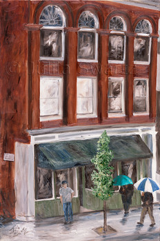 A cityscape oil painting of the Fulton Academy on N Prince St in Lancaster PA by Julia Swartz