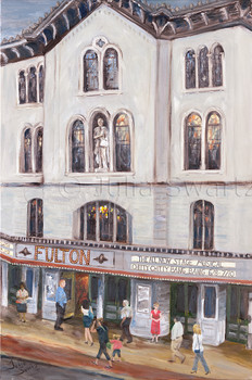 A landscape oil painting of the Fulton Theatre building in Lancaster PA