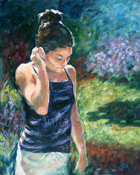 A figure painting on canvas of a girl in a garden by artist Julia Swartz.