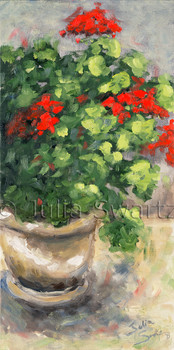 A close up impressionism oil painting of Red Geraniums in a old crock by Julia Swartz Lancaster PA.