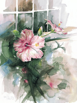 A watercolor painting of pink and red Hibiscus flowers by artist Julia Swartz.