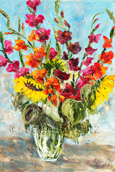 An oil painting on canvas of Gladiolus Flowers and sunflowers bouquet in a glass vase by Julia Swartz