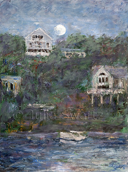 A oil painting of a moon rise over the bay at Rockport MA by Julia Swartz