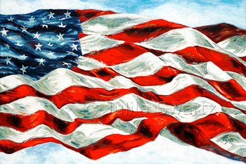USA flag painted with oil on canvas by Julia Swartz.
