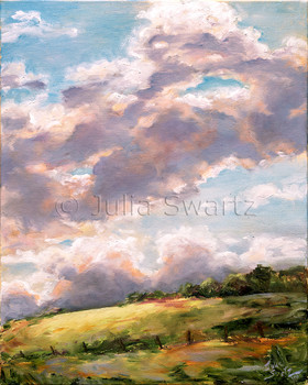 An oil painting of thunderstorm clouds building up by Julia Swartz