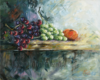 Here we see a shiny group of grapes captured in oil paint by Julia Swartz.
