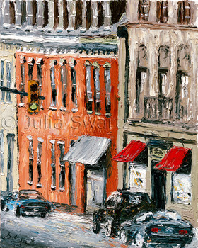 """Part of Julia's """"Downtown"""" series, this oil painting captures a view of South Prince Street outside her gallery window."""