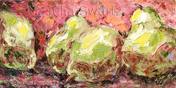 A still life fruit, oil painting on canvas of Green Pears Julia Swartz, Lancaster PA.