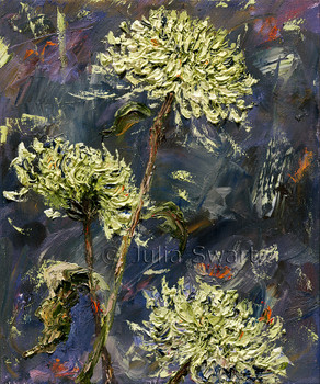 A close up view oil painting of green Spider Mum flowers painted with a palette knife by Julia Swartz.