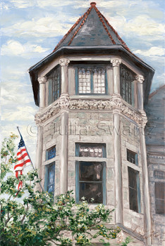 A landscape oil painting of the Hamilton Club Tower in Lancaster PA by Julia Swartz