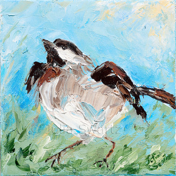 An impressionistic close up oil painting of a Chickadee by Julia Swartz Lancaster PA