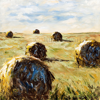 An Impressionist palette knife Oil paintings of Hay Bales by Julia Swartz Lancaster PA