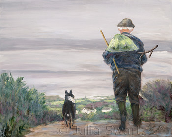 An Irish man walking home from work with his scythe and shovel and border collie by his side. Oil painting on canvas by Julia Swartz.