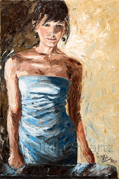 A portrait in oil on canvas of a young lady by Julia Swartz.