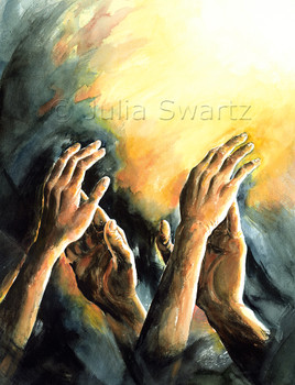 A watercolor painting of praying hands by Julia Swartz