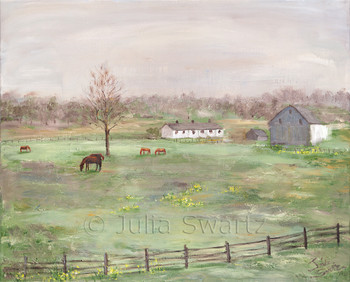 An oil painting of horses in a meadow with horse barns in the background by Julia Swartz Lancaster PA