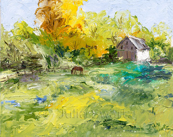 Impressionism oil painting of a horse in a meadow with a barn in the background by Julia Swartz Lancaster PA
