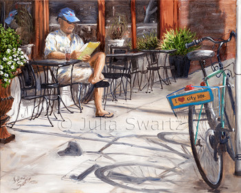 Sitting at a table in front of the Prince St Cafe having ice tea, bicycle close by. Oil painting on canvas.