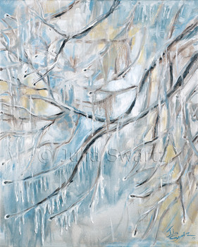 An oil painting of icicles hanging from tree branches in a winter storm by Julia Swartz