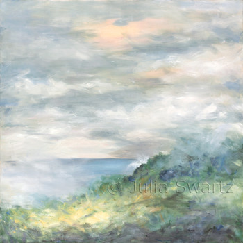 An impressionist oil painting of a cliff in Ireland beside the ocean by Julia Swartz, Lancaster PA