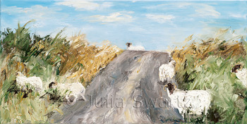 A landscape oil painting of sheep crossing the road in Ireland by Julia Swartz.