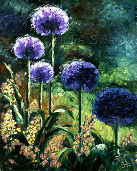 An Oil painting on canvas of Allium flowers by artist Julia Swartz.